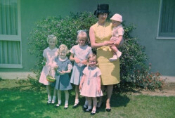 (Gail Gum and their 5 kids, 1960's in front of their house on Loretta Dr.)